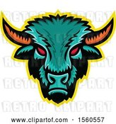 Vector Clip Art of Retro Red Eyed Demonic American Bison Mascot by Patrimonio