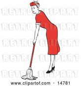 Vector Clip Art of Retro Red Haired Housewife or Maid Lady in a Long Red Dress and High Heels Using a Mop to Clean the Floors by Andy Nortnik