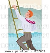 Vector Clip Art of Retro Red Haired White Business Man Climbing a Ladder over the Ocean by Patrimonio