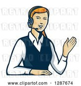 Vector Clip Art of Retro Red Haired White Female Call Center Worker Waving and Wearing a Headset by Patrimonio
