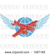 Vector Clip Art of Retro Red Jumbo Jet Propeller Airplane over a Winged Globe by Patrimonio