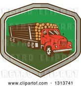 Vector Clip Art of Retro Red Logging Truck Hauling Logs in a Gray, Brown White and Green Shield by Patrimonio