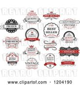 Vector Clip Art of Retro Red Quality Guarantee Labels by Vector Tradition SM