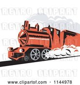Vector Clip Art of Retro Red Steam Engine Train by Patrimonio