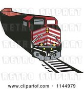 Vector Clip Art of Retro Red Train 1 by Patrimonio