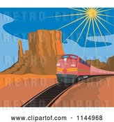 Vector Clip Art of Retro Red Train in a Desert by Patrimonio