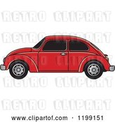 Vector Clip Art of Retro Red Vw Beetle Car with Tinted Windows by Lal Perera