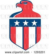 Vector Clip Art of Retro Red White and Blue Bald Eagle Head and American Flag Crest by Patrimonio
