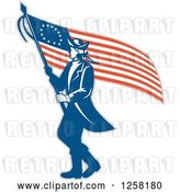 Vector Clip Art of Retro Revolutionary Soldier Walking with an American Betsy Ross Flag by Patrimonio