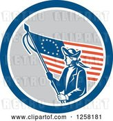 Vector Clip Art of Retro Revolutionary Soldier with an American Betsy Ross Flag in a Blue White and Gray Circle by Patrimonio