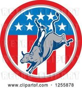 Vector Clip Art of Retro Rodeo Cowboy on a Bull in an American Flag Circle by Patrimonio