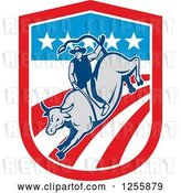 Vector Clip Art of Retro Rodeo Cowboy on a Bull in an American Flag Shield by Patrimonio