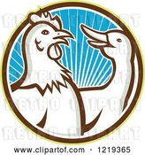 Vector Clip Art of Retro Rooster and Goose in a Circle of Blue Sunshine by Patrimonio