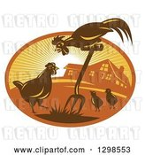 Vector Clip Art of Retro Rooster, Hen and Chicks with a Pitchfork by a Farm House in a Sunshine Oval by Patrimonio