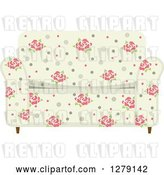 Vector Clip Art of Retro Rose Patterned Couch by BNP Design Studio
