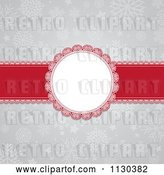 Vector Clip Art of Retro Round Christmas Frame and Red Ribbon over Gray Snowflakes by KJ Pargeter