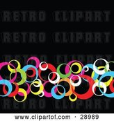 Vector Clip Art of Retro Row of Pink, Blue, Yellow, Red, Green and White Circles Crossing over a Black Background by KJ Pargeter