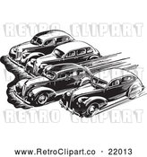 Vector Clip Art of Retro Royalty-Free (RF) Clipart Illustration of Cars Taking off in a Race by BestVector