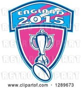 Vector Clip Art of Retro Rugby Ball and Trophy over a Pink and Blue England 2015 Shield by Patrimonio