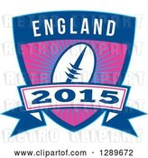 Vector Clip Art of Retro Rugby Ball over a Burst in a Blue England 2015 Shield by Patrimonio