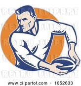 Vector Clip Art of Retro Rugby Football Guy Against an Orange Circle by Patrimonio