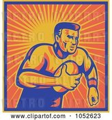 Vector Clip Art of Retro Rugby Football Guy Against Orange Rays by Patrimonio