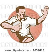 Vector Clip Art of Retro Rugby Football Guy over a Circle of Rays by Patrimonio