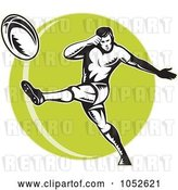 Vector Clip Art of Retro Rugby Football Guy over a Green Circle by Patrimonio
