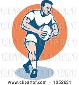 Vector Clip Art of Retro Rugby Football Guy over an Orange Circle by Patrimonio