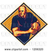 Vector Clip Art of Retro Rugby Player with a Ball in a Diamond with a Pattern by Patrimonio