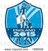 Vector Clip Art of Retro Rugby Union Player Catching Lineout Ball in a Blue and White England 2015 Shield by Patrimonio