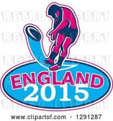 Vector Clip Art of Retro Rugby Union Player Kicking a Ball Ball in a Pink White and Blue England 2015 Oval by Patrimonio