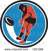 Vector Clip Art of Retro Rugby Union Player Kicking a Ball in a Black White and Blue Circle by Patrimonio