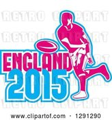 Vector Clip Art of Retro Rugby Union Player Passing a Ball, and White Pink and Blue England 2015 Text by Patrimonio