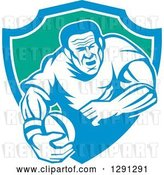 Vector Clip Art of Retro Rugby Union Player Running with a Ball in a Blue White and Green Shield by Patrimonio