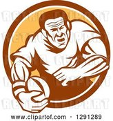 Vector Clip Art of Retro Rugby Union Player Running with a Ball in a Brown White and Orange Circle by Patrimonio