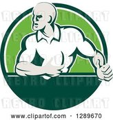 Vector Clip Art of Retro Rugby Union Player with Ball in a Green and White Circle by Patrimonio