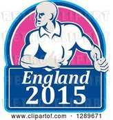 Vector Clip Art of Retro Rugby Union Player with Ball in a Pink and Blue England 2015 Shield by Patrimonio
