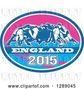 Vector Clip Art of Retro Rugby Union Players in a Scrum in a Blue White and Pink England 2015 Oval by Patrimonio