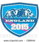 Vector Clip Art of Retro Rugby Union Players in a Scrum in a Blue White and Pink England 2015 Shield by Patrimonio