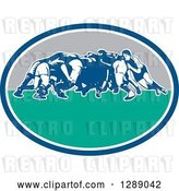 Vector Clip Art of Retro Rugby Union Players in a Scrum in a Blue White Turquoise and Gray Oval by Patrimonio