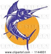 Vector Clip Art of Retro Sailfish 9 by Patrimonio