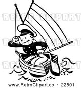 Vector Clip Art of Retro Sailor in a Boat by BestVector