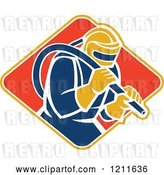 Vector Clip Art of Retro Sandblaster in a Helmet, Holding a Hose over a Diamond by Patrimonio