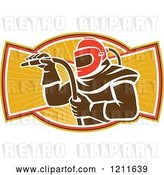 Vector Clip Art of Retro Sandblaster in a Helmet, Holding a Hose over Rays by Patrimonio