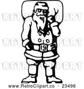 Vector Clip Art of Retro Santa Claus Carrying Christmas Present Sack by Prawny Vintage