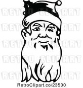 Vector Clip Art of Retro Santa Face with a Long Beard by Prawny Vintage
