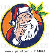 Vector Clip Art of Retro Santa Holding up a Finger in an Orange Circle with Holly by Patrimonio