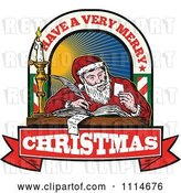Vector Clip Art of Retro Santa Writing a List with Have a Very Merry Christmas Banner and Text by Patrimonio