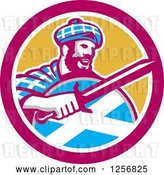 Vector Clip Art of Retro Scottish Highlander in a Tartan with a Sword and Shield in a Pink and Yellow Circle by Patrimonio
